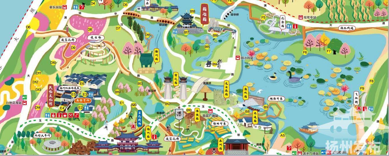 手绘地图,五大区域划分,官方线路推荐……这届园博会